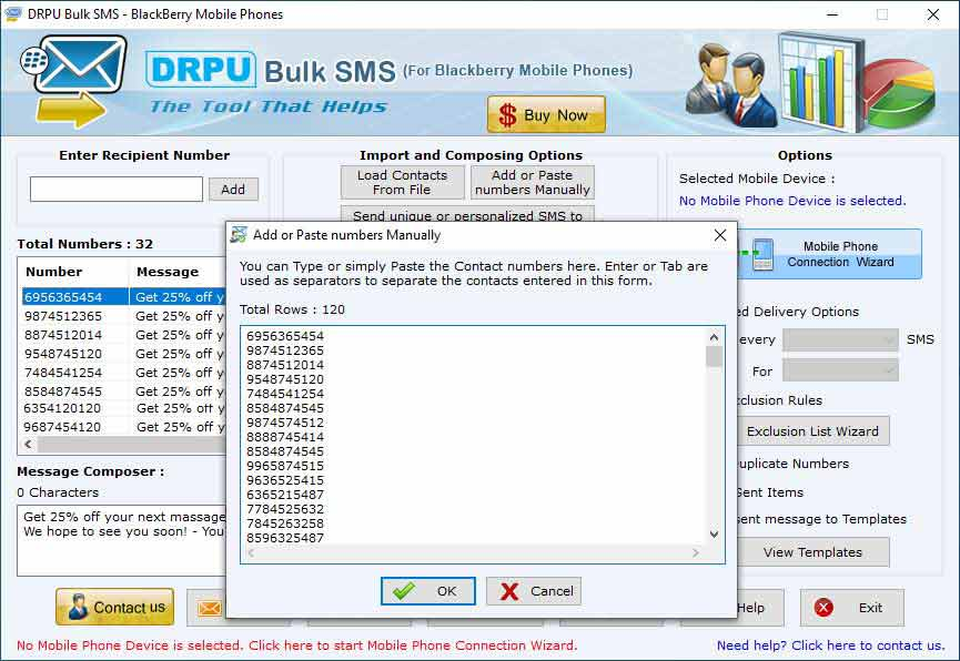 SMS App BlackBerry screenshot